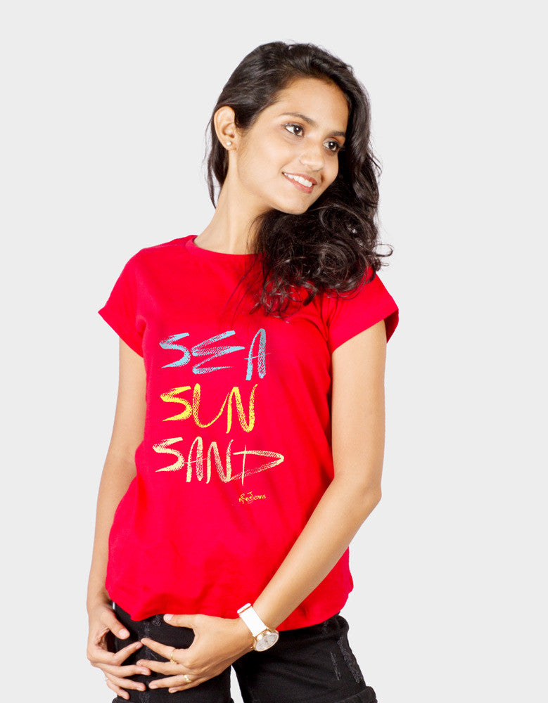 Sea Sun Sand - Red Women's Random Short Sleeve Graphic T Shirt Model Front View