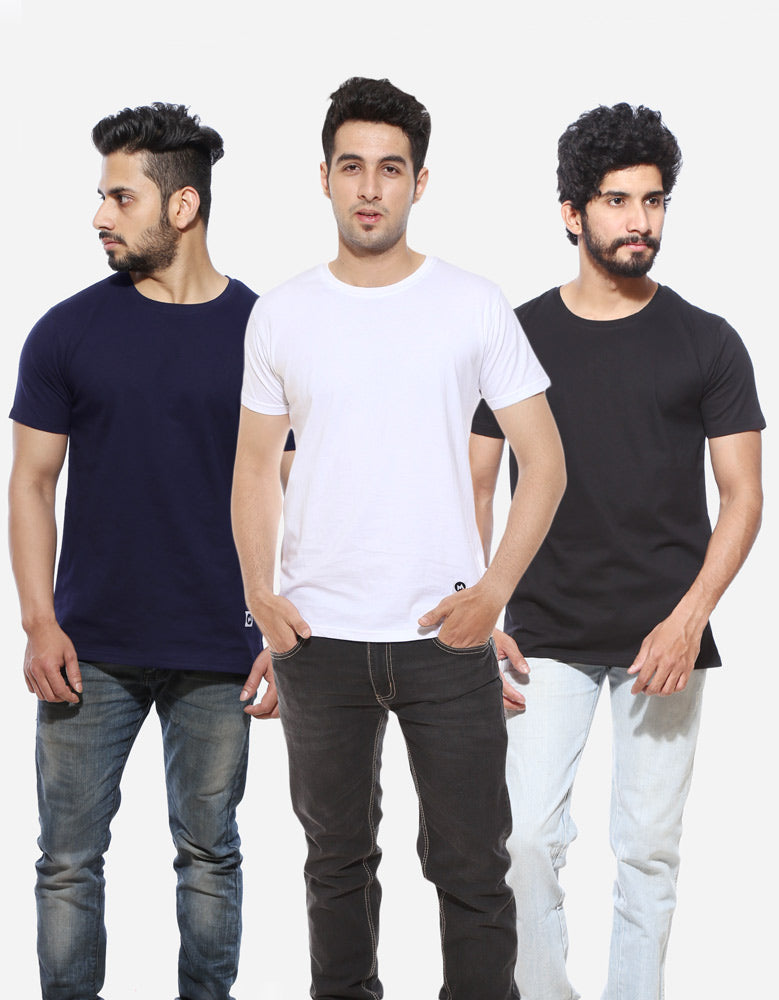 Men's Half Sleeve Combo T shirts | Black | Navy Blue | White