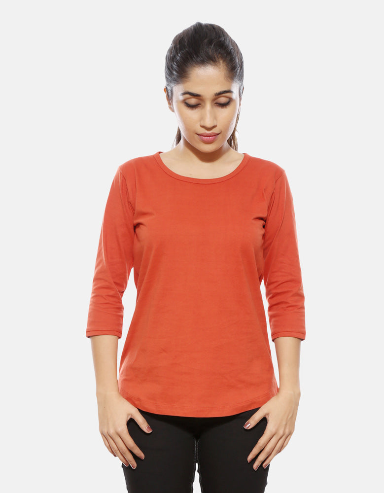 Women's Combo 3/4 Sleeve T-Shirt | Brinjal | Rust Orange | Black