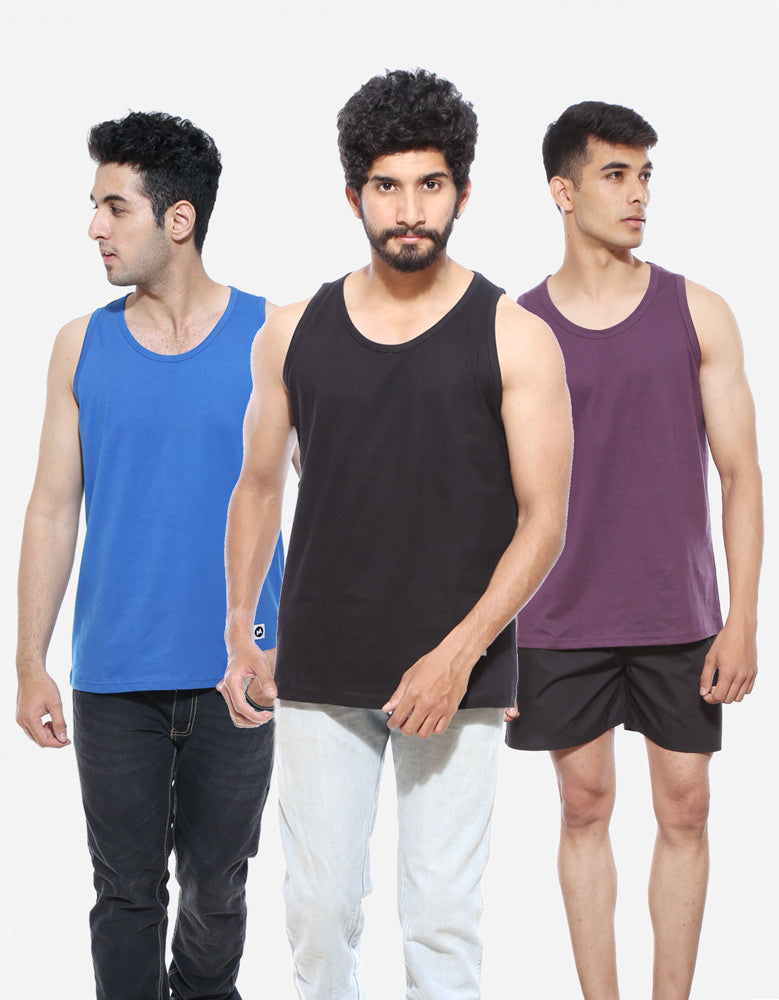 Men's Vests Combo | Royal Blue | Purple | Black