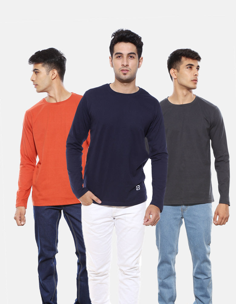 Men's Full Sleeve Combo T shirts | Charcoal Grey | Rust Orange | Navy Blue