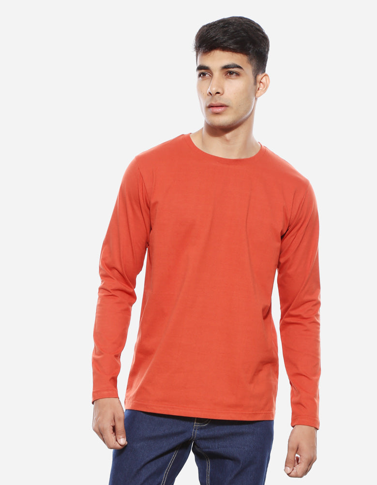 Men's Full Sleeve Combo T shirts | Rust Orange | Maroon Melange | Black