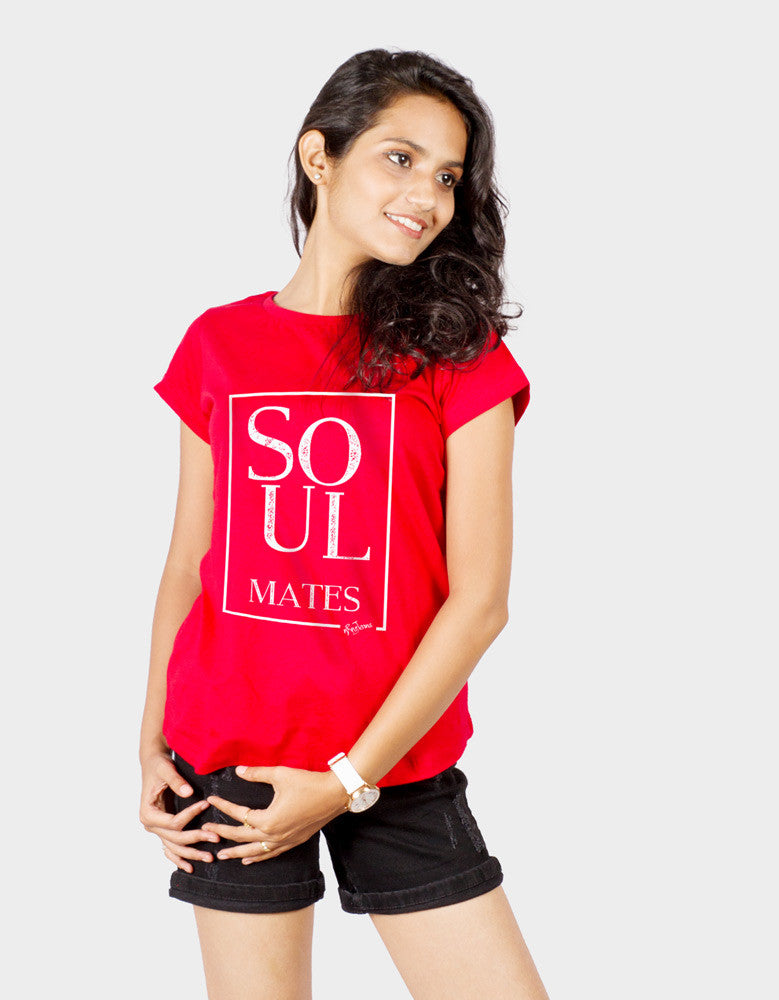 Soulmates - Red Women's Random Short Sleeve Graphic T Shirt Model Front Half  View