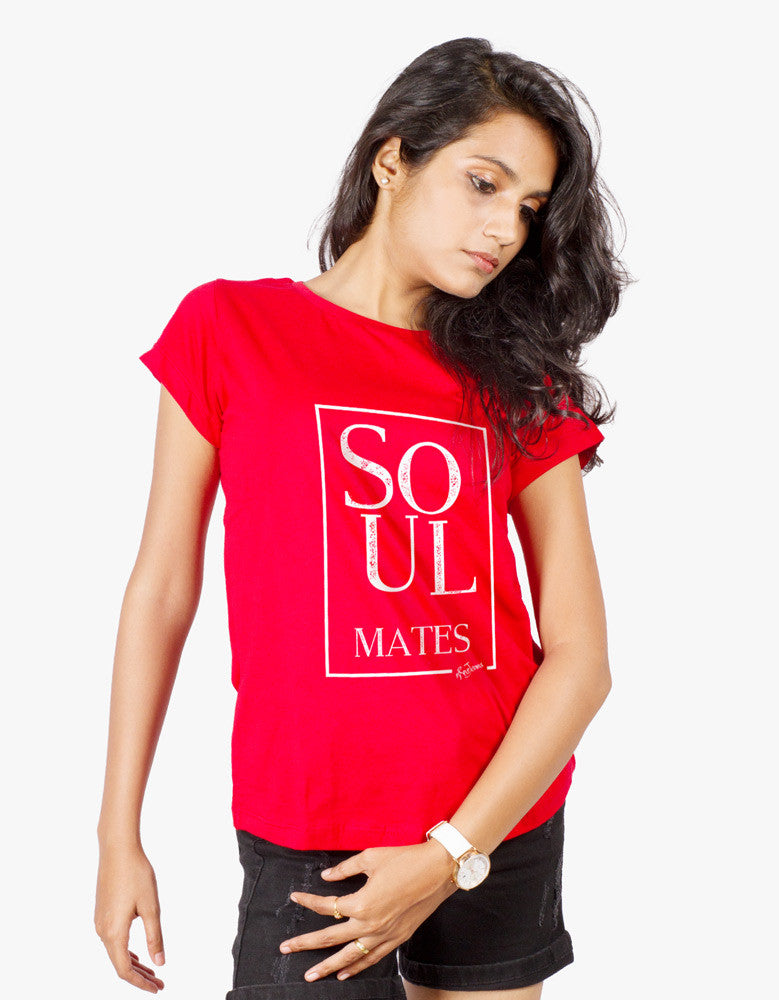 Soulmates - Red Women's Random Short Sleeve Graphic T Shirt Model Front View