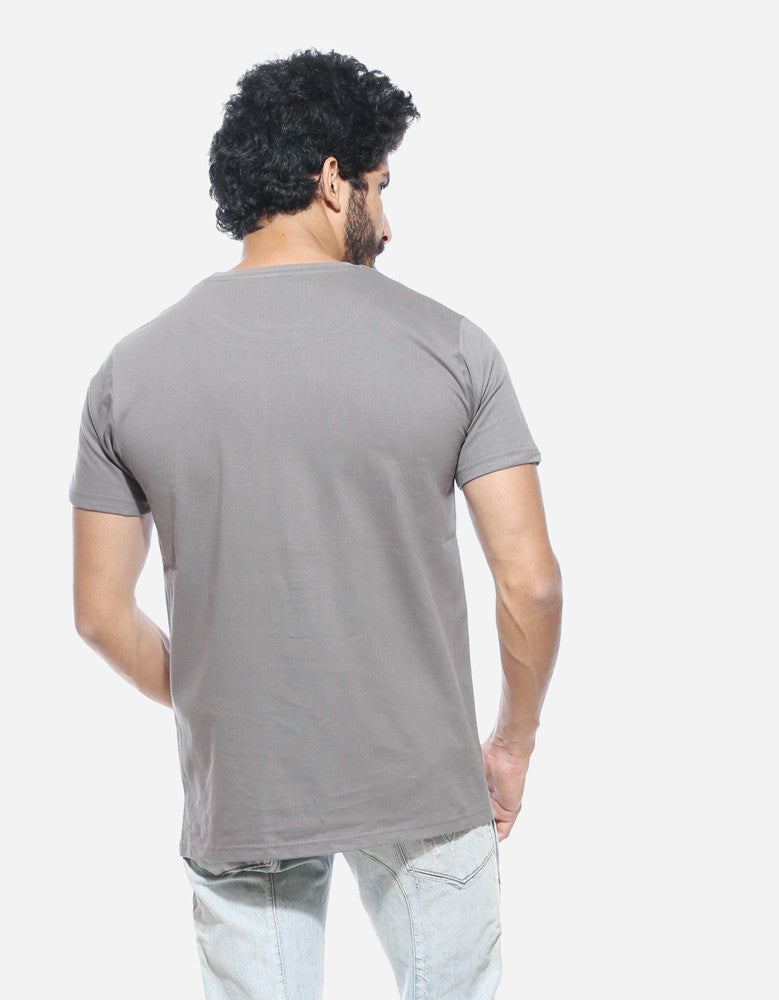 Stressed Out - Cement Grey Men's Half Sleeve Trendy T Shirt Model Back View