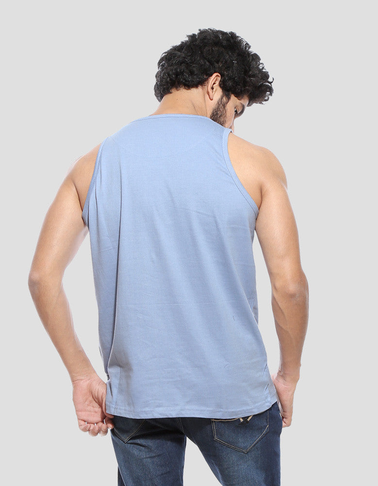 Strum - Yale Blue Men's Music Half Sleeve Designer Vest Model Back View