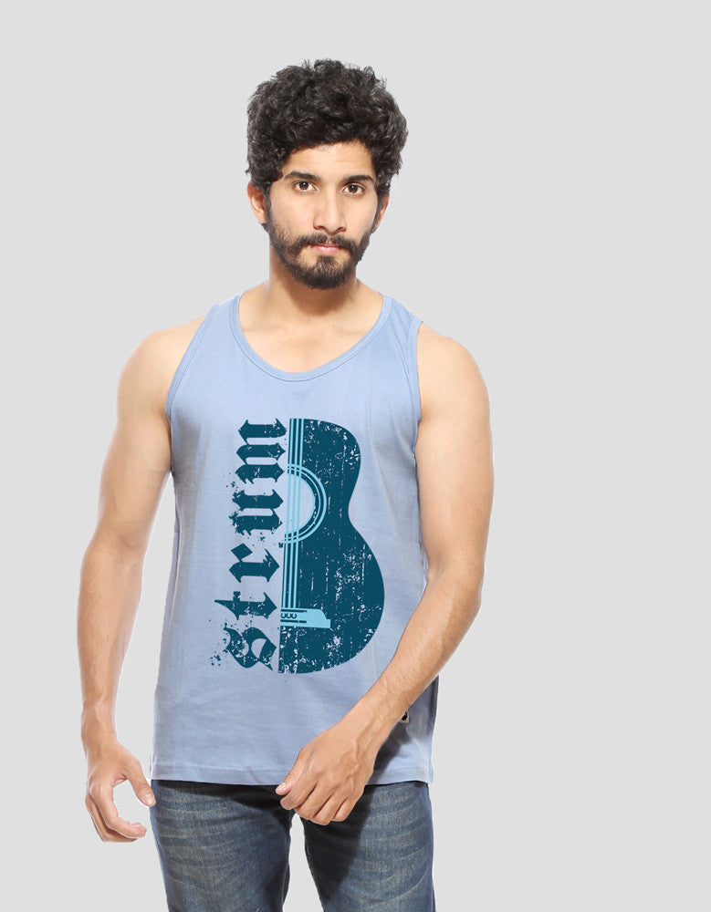 Strum - Yale Blue Men's Music Half Sleeve Designer Vest Model Front View
