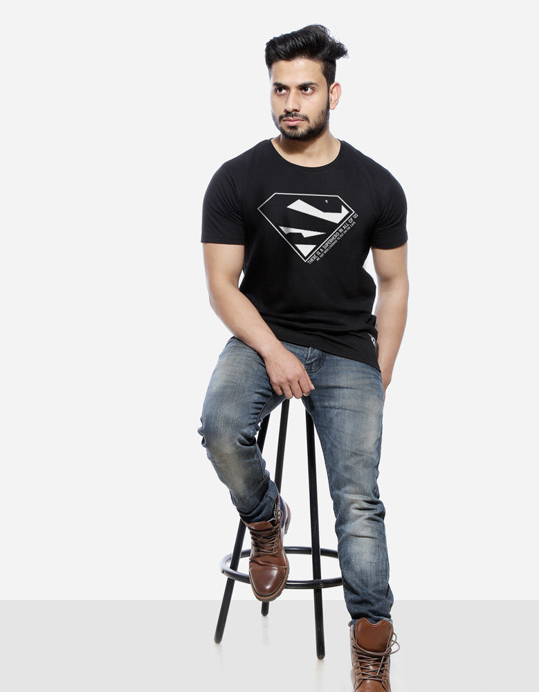 Superhero - Black Men's Superhero Half Sleeve Graphic Glow In Dark T Shirt Model Full Front View