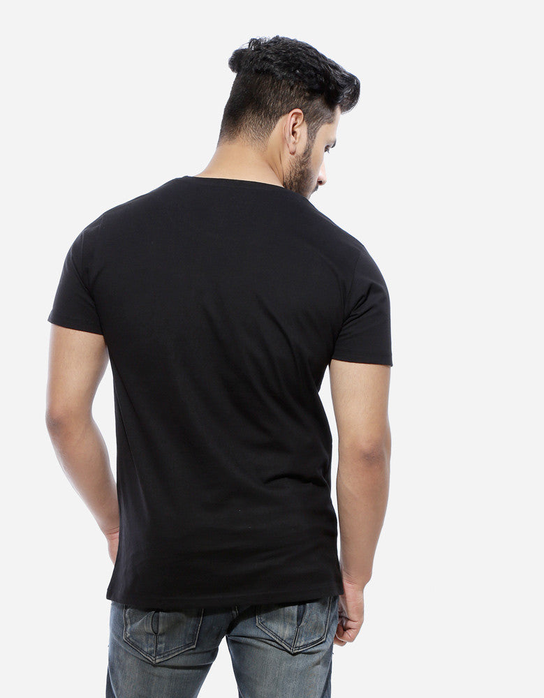Superhero - Black Men's Superhero Half Sleeve Graphic Glow In Dark T Shirt Model Back View