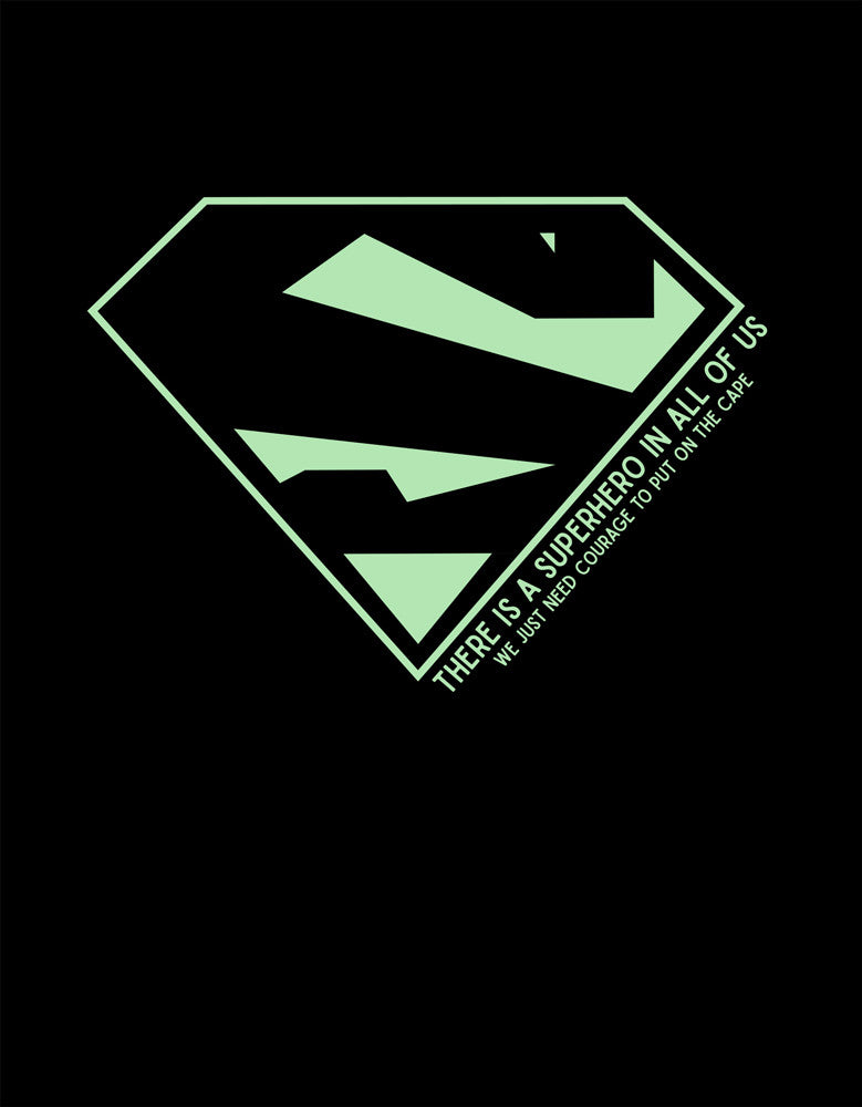 Superhero - Black Men's Superhero Half Sleeve Graphic Glow In Dark T Shirt Design View