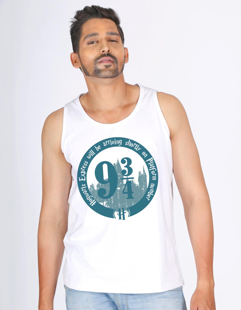 Platform 9 3/4 - White Men's Superhero Sleeveless Cool Vest Model Front View