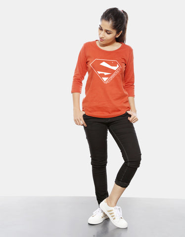 Superhero - Rust Orange Women's Superhero 3/4 Sleeve Trendy T Shirt Model Full Front View