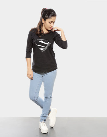 Superhero - Black Women's Superhero 3/4 Sleeve Trendy T Shirt Model Full Front View