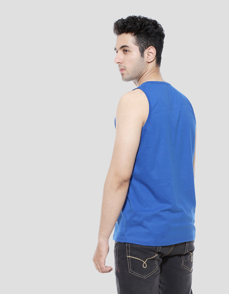 Swag - Royal Blue Men's Sleeveless Cool Vest Model Side View