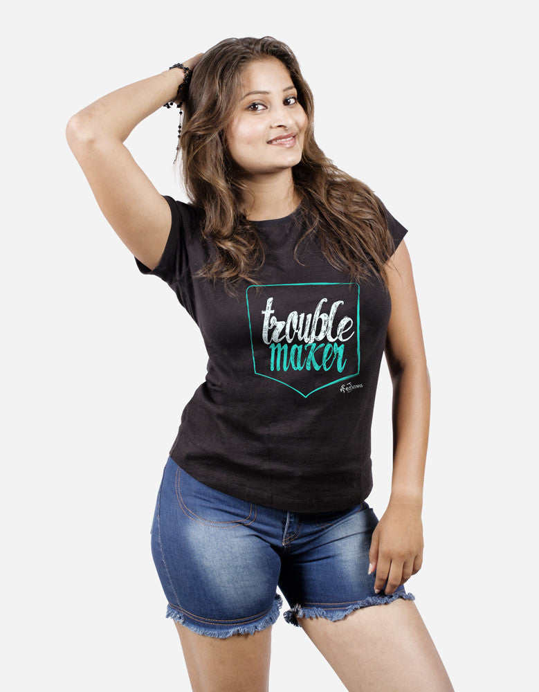 Trouble Maker - Black Women's Random Short Sleeve Printed T Shirt Model Half Front View