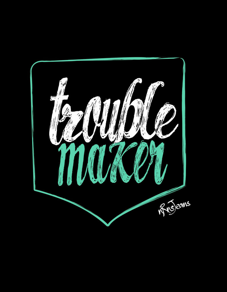 Trouble Maker - Black Women's Random Short Sleeve Printed T Shirt Design View