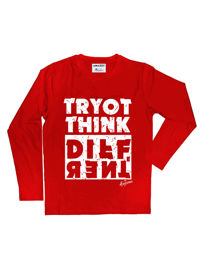 Try To Think - Red Full Men's Sleeve Printed T Shirt View