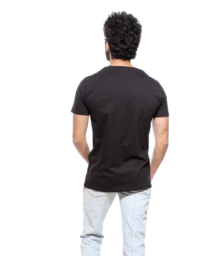 What A Lovely Day - Black Men's Half Sleeve Trendy Printed T Shirt Model Back View