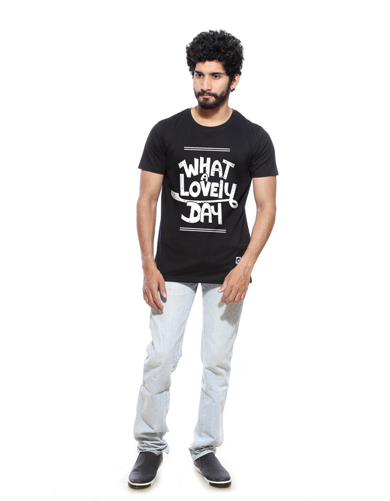 What A Lovely Day - Black Men's Half Sleeve Trendy Printed T Shirt Model Full Front View