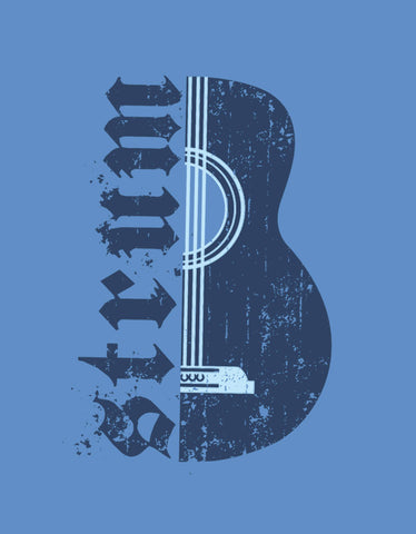 Strum - Dark Shadow Blue Men's Music Half Sleeve Designer T Shirt Design View