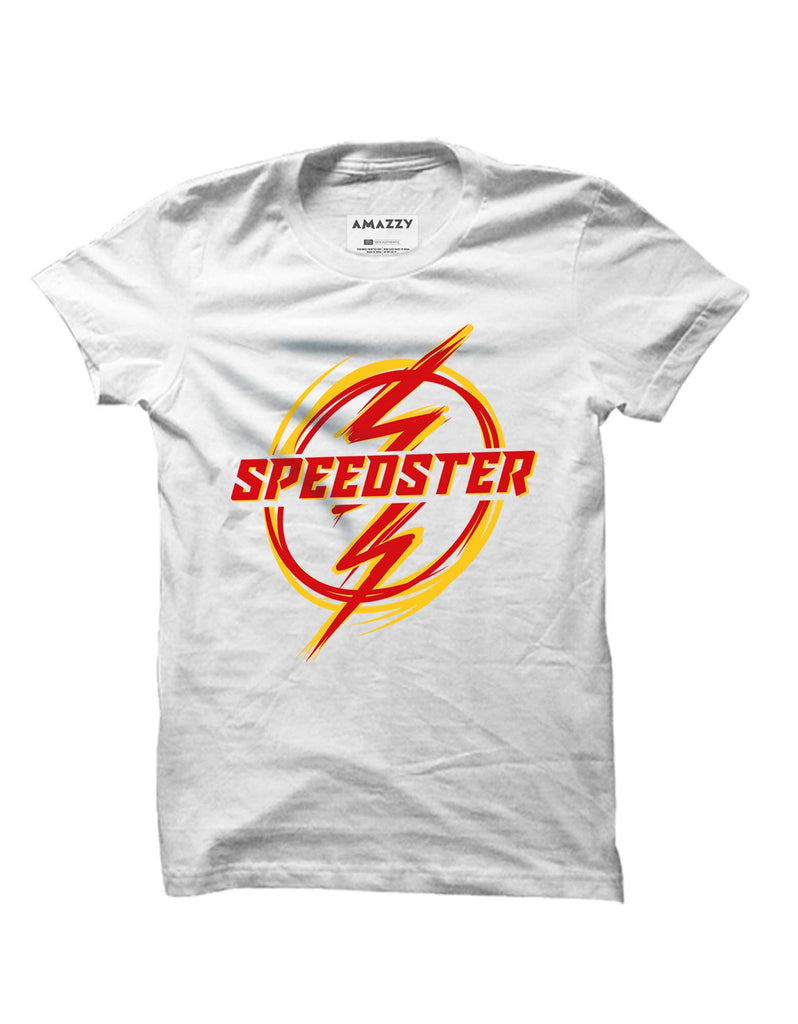 Speedster -  White Men's Superhero Half Sleeve Graphic T Shirt (T-shirt view)