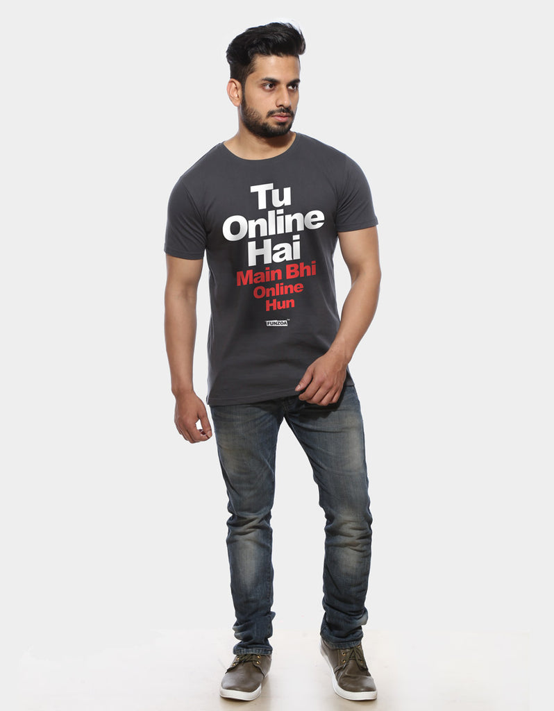 Tu Online Hai Funzoa Men's Charcoal Grey Graphic T shirt for men