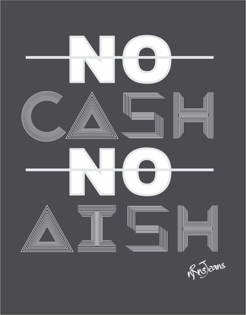 No Cash No Aish - Melange Charcoal Men's Half Sleeve Graphic T Shirt Design View