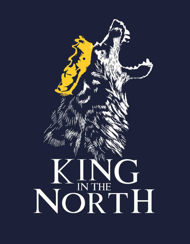 King In The North - Navy Blue Men's GOT  Full Sleeve Trendy T Shirt (Design view)