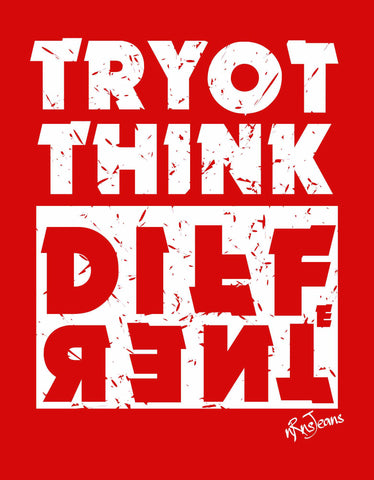 Try To Think - Red Full Men's Sleeve Printed T Shirt Design View