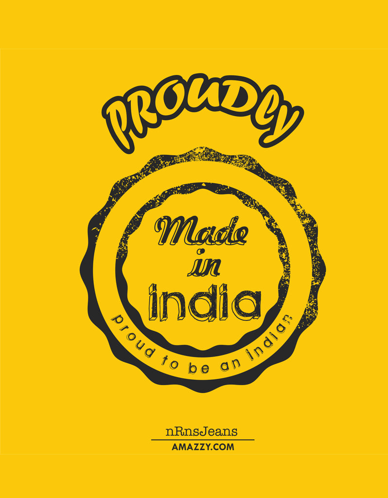 Made In India - Yellow Men's Half Sleeve Printed T Shirt Design View