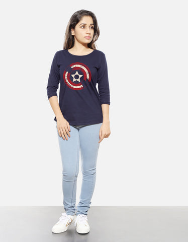Vinyl Shield - Navy Blue Women's Superhero 3/4 Sleeve Trendy T Shirt Model Full Front View
