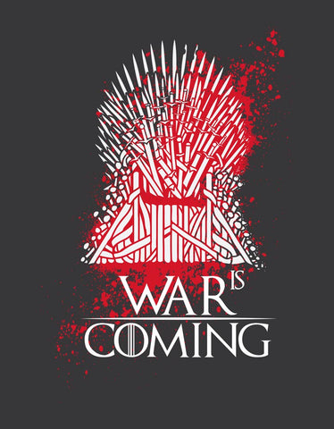 War is Coming - Charcoal Grey TV Series Cool Full Sleeve Men's T shirt Design View