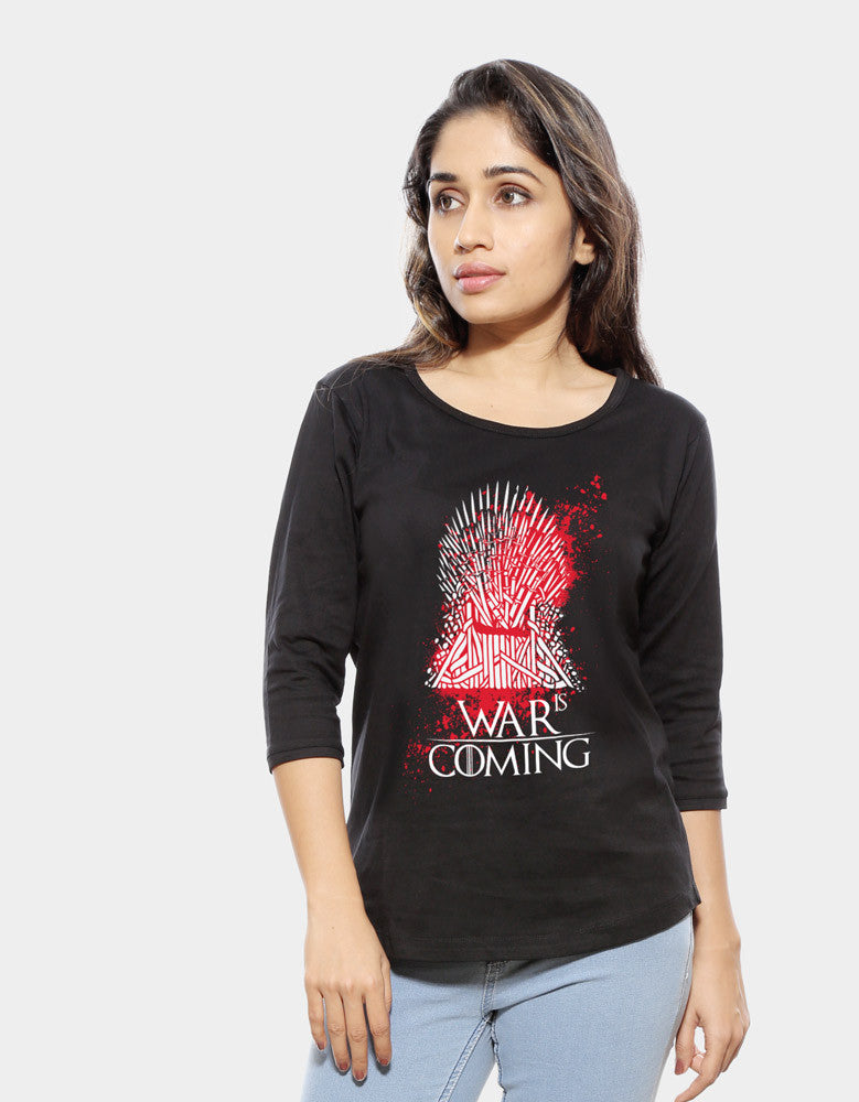 War Is Coming - Black Women's GOT 3/4 Sleeve Cool T Shirt Model Front View