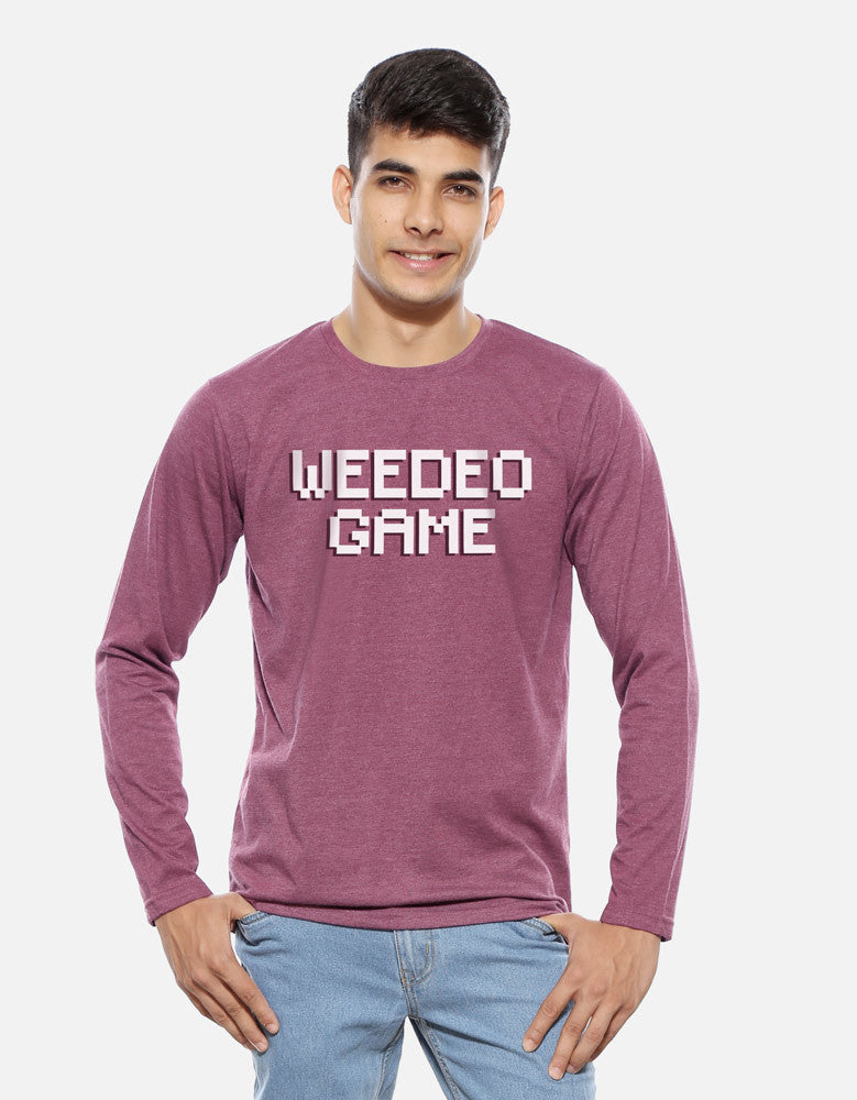 Weedeo Game - Maroon Melange Men's Stoner Graphic Full Sleeve T shirt Model Front View