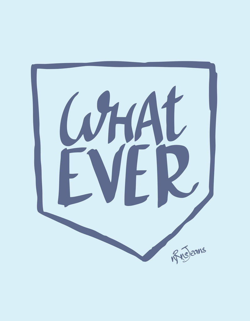What Ever - Sky Blue Women's Random Short Sleeve Printed T Shirt  Design View