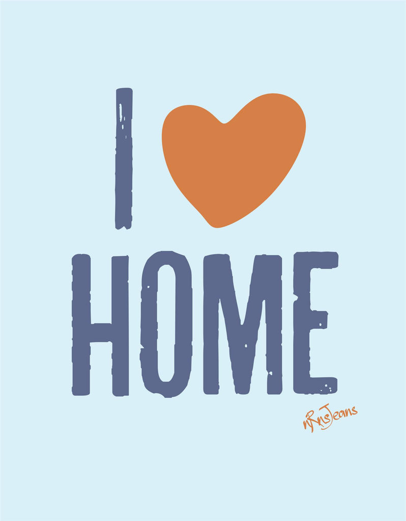 I Love Home - Sky Blue Women's Random Short Sleeve Graphic T Shirt Design View