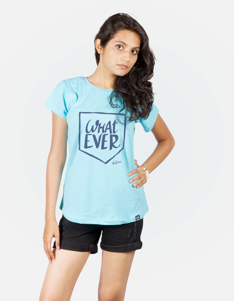 What Ever - Sky Blue Women's Random Short Sleeve Printed T Shirt Model Half Front View