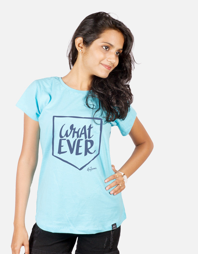 What Ever - Sky Blue Women's Random Short Sleeve Printed T Shirt  Model Front View