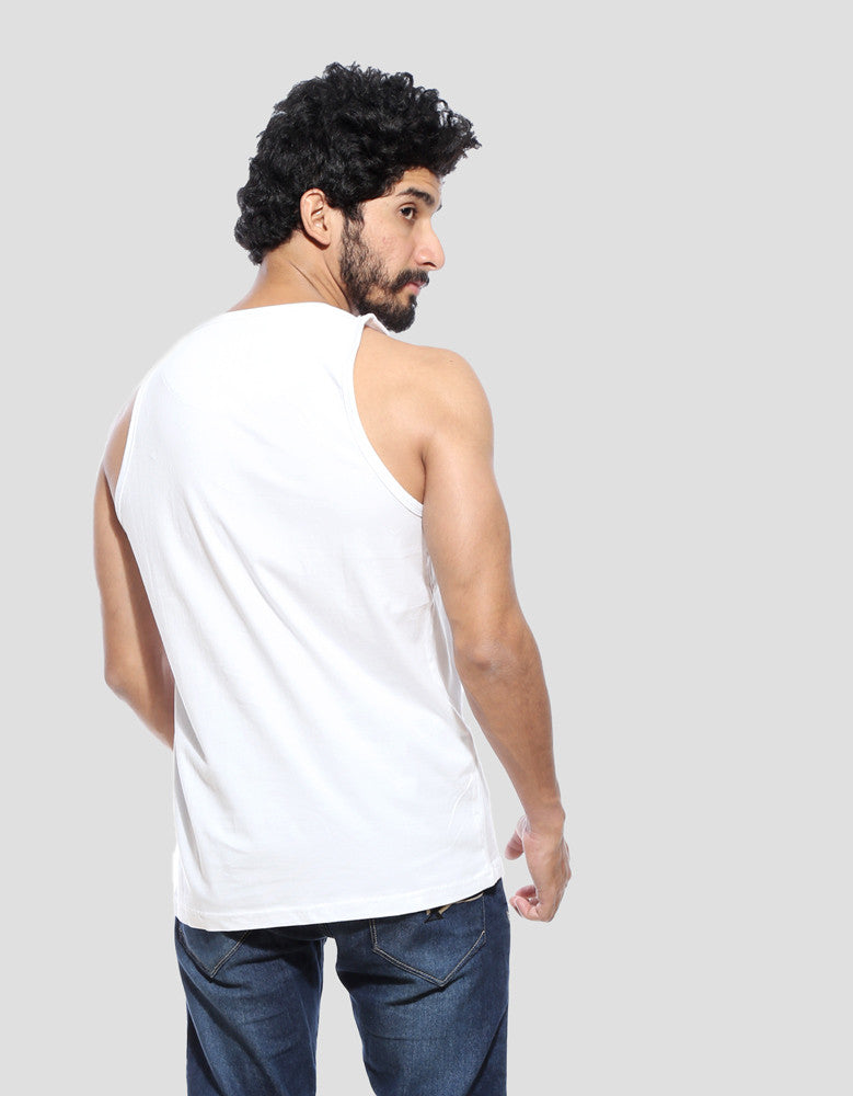 White - Men's Plain Sleeveless Vest Model Back View