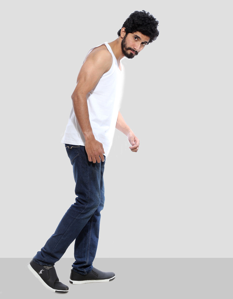 White - Men's Plain Sleeveless Vest Model Side Full View
