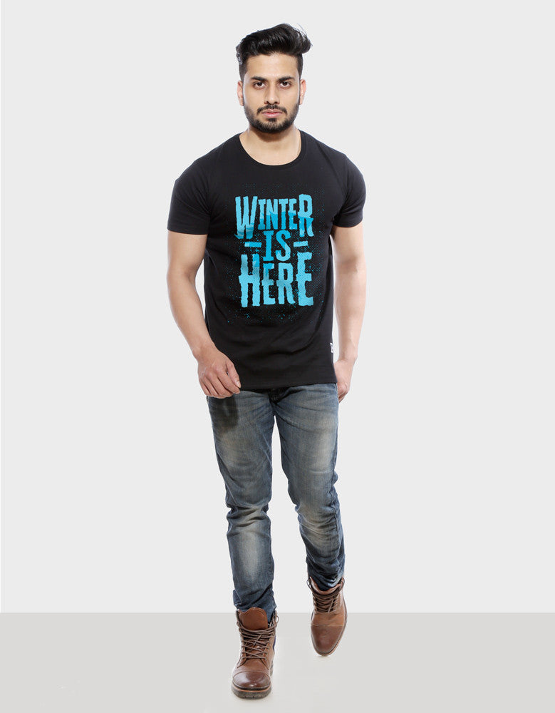 Winter Is Here - Black Men's TV Series Inspired Half Sleeve Trendy T Shirt Model Full Front View