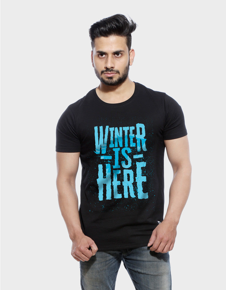Winter Is Here - Black Men's TV Series Inspired Half Sleeve Trendy T Shirt Model Front View