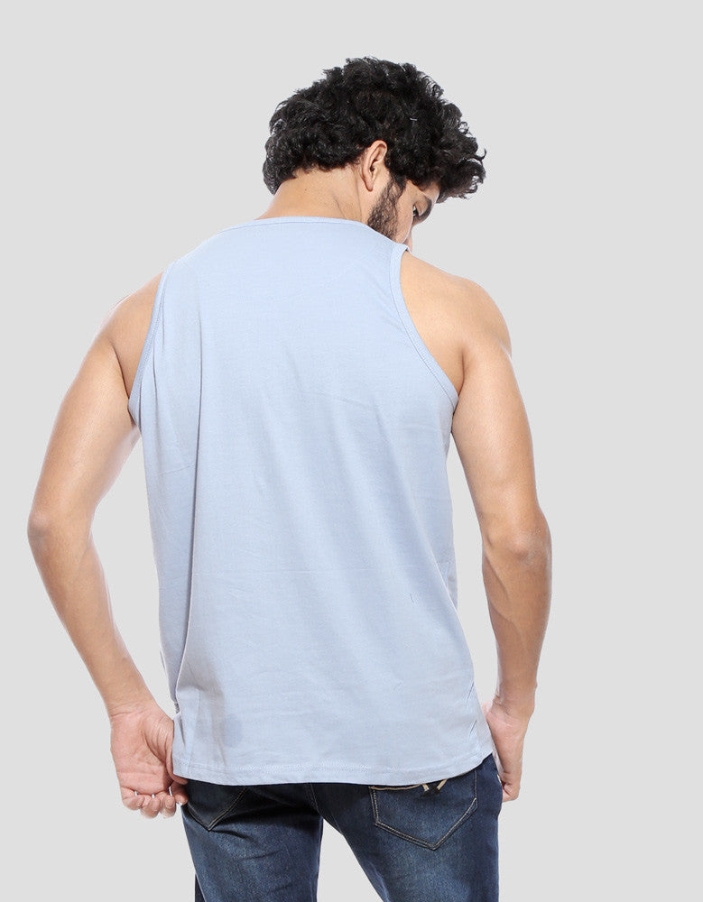 Yale Blue - Men's Plain Sleeveless Vest Model Back View