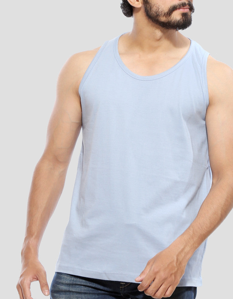 Yale Blue - Men's Plain Sleeveless Vest Model Close-Up View