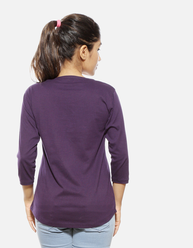 Killer - Brinjal Women's 3/4 Sleeve Trendy T Shirt Model Back View