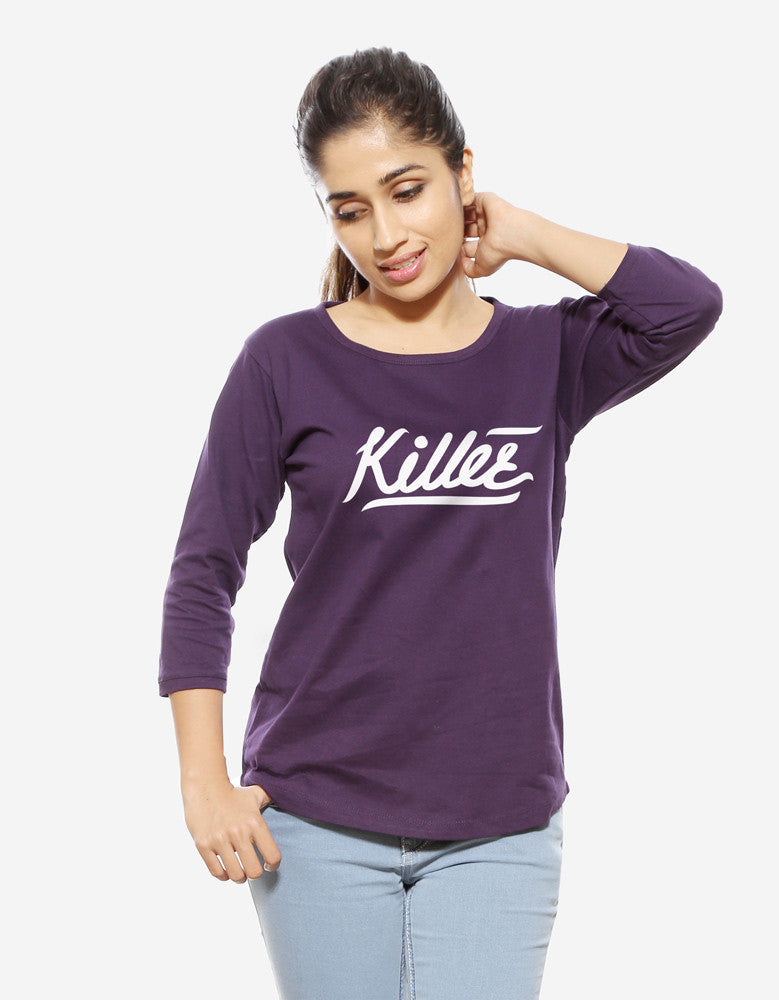 Killer - Brinjal Women's 3/4 Sleeve Trendy T Shirt Model Front View
