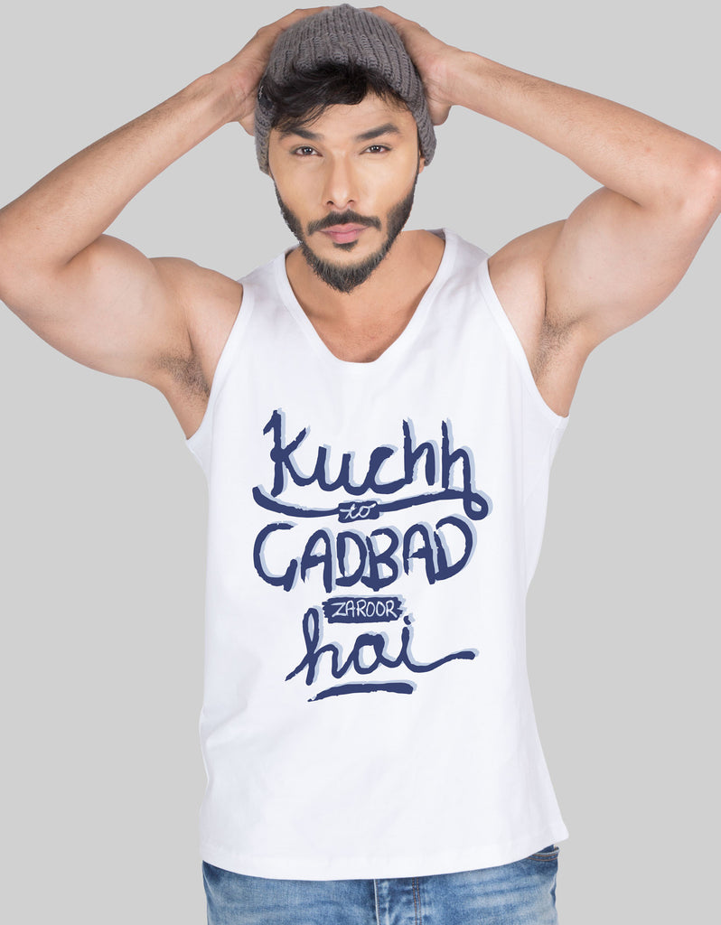 Gadbad - White Men's Sleeveless CID Printed Vest Model Front View
