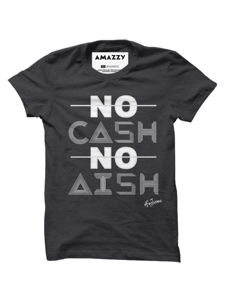 No Cash No Aish - Melange Charcoal Men's Half Sleeve Graphic T Shirt View