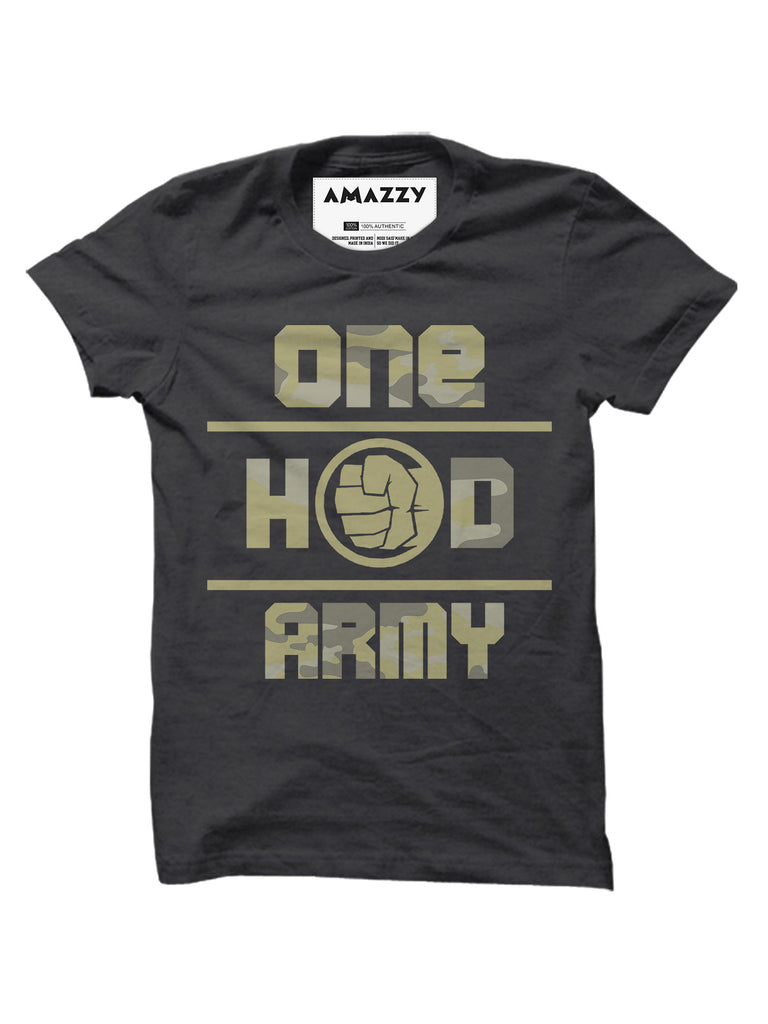 One Hand Army - Melange Charcoal Men's Half Sleeve Graphic T Shirt View
