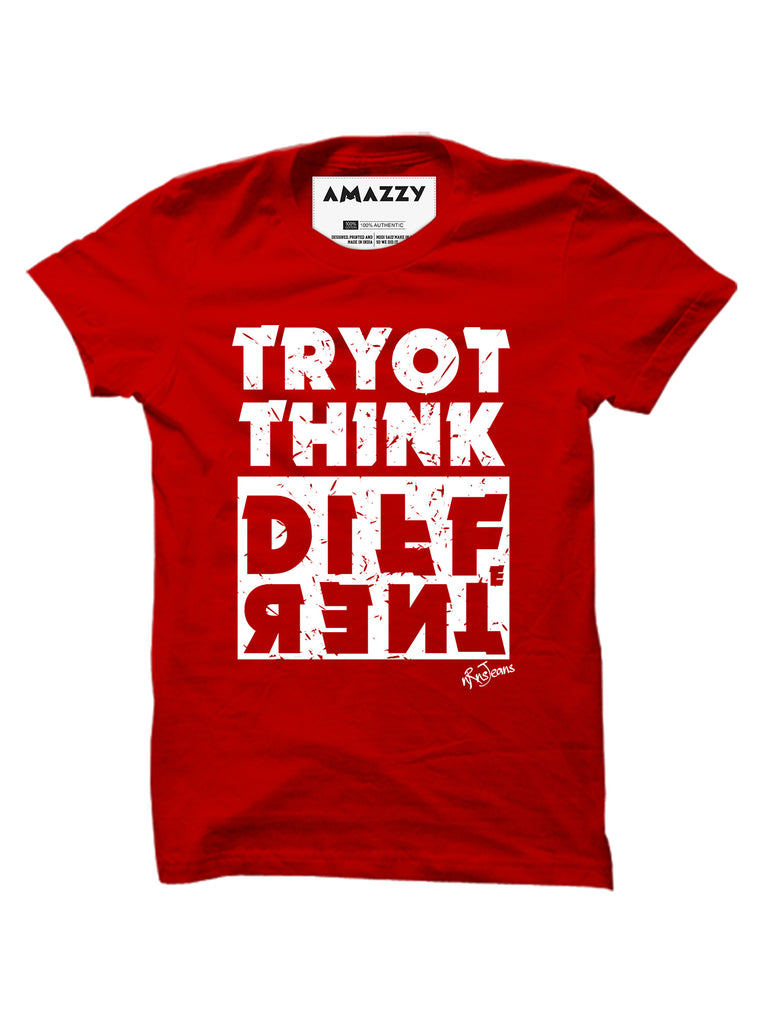 Try To Think Different - Red Men's Half Sleeve Printed T Shirt View